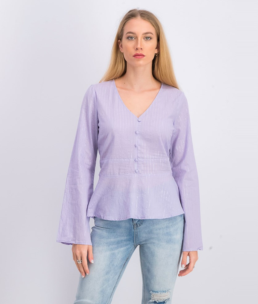 Juniors' Metallic-Stripe Bell-Sleeve Top, Purple