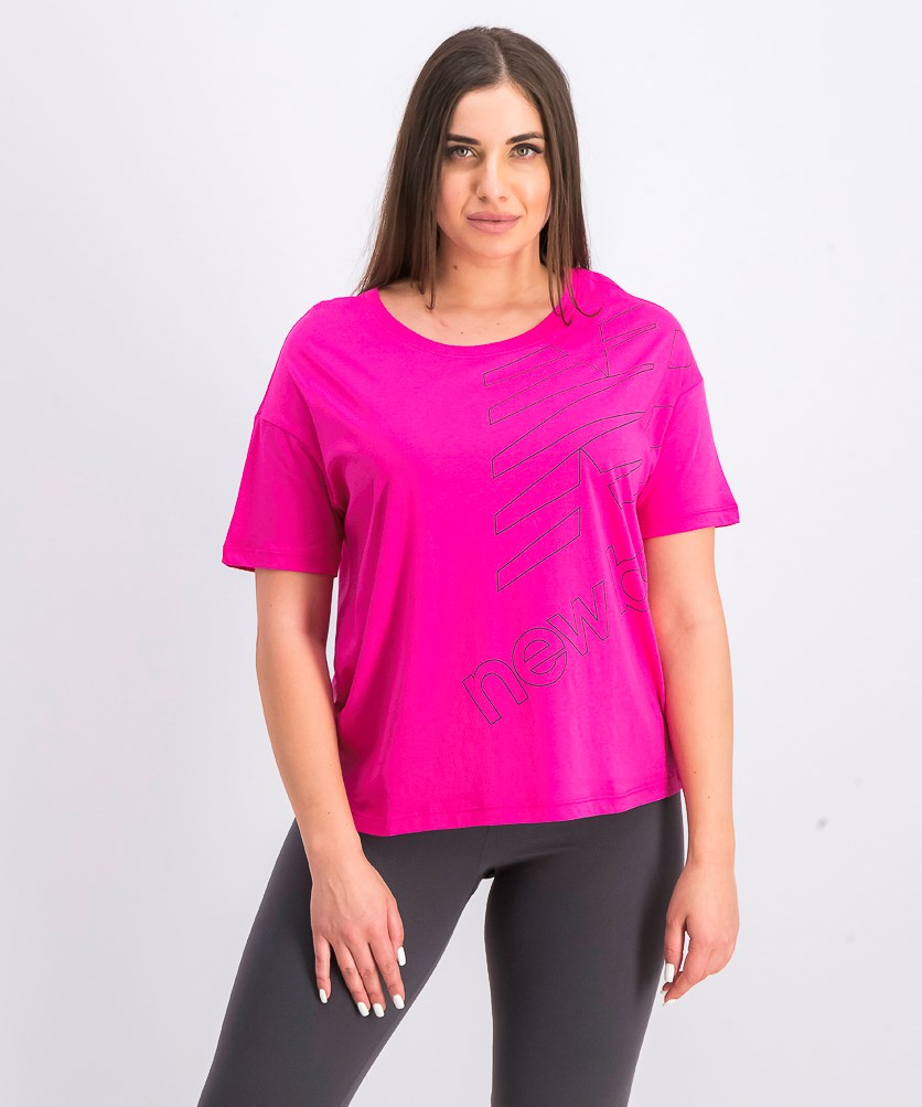 Women's Essential Stacked Boxy Tee, Fuchsia/Black