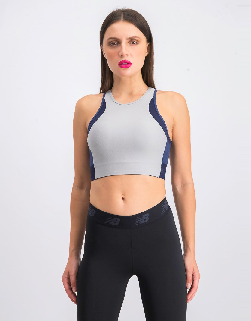 Women's Reclaim Crop Bra, Ash Grey/Navy