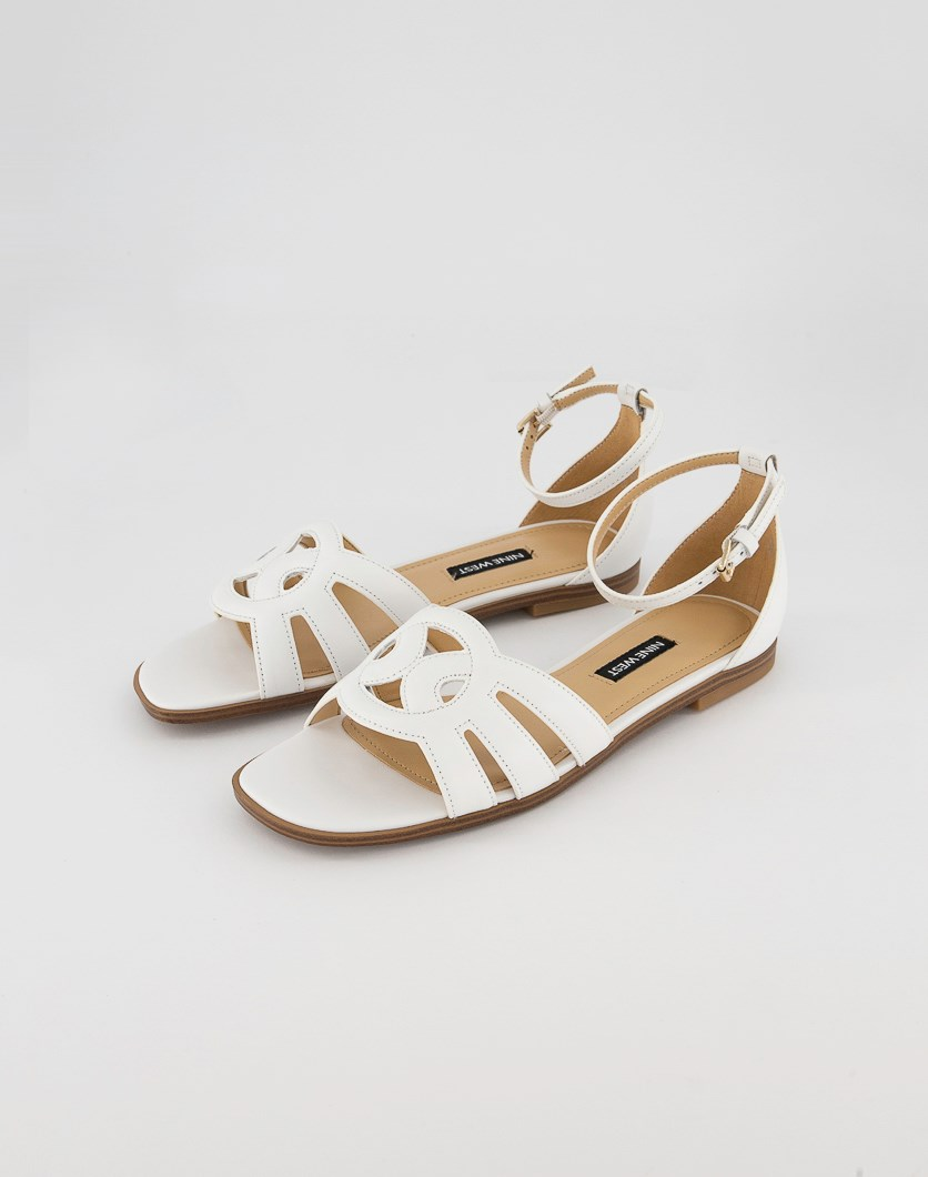 Women's Genna Ankle Strap Flat Sandals, White Leather