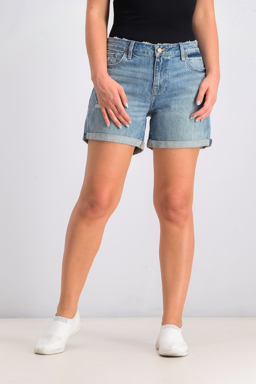 Women's Mid Rise Roll Up Short, Blue