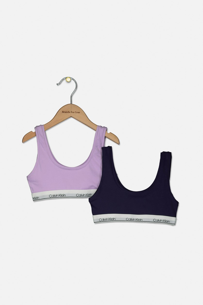 Little & Big Girls 2-Pk. Bralettes, Lilac/Navy