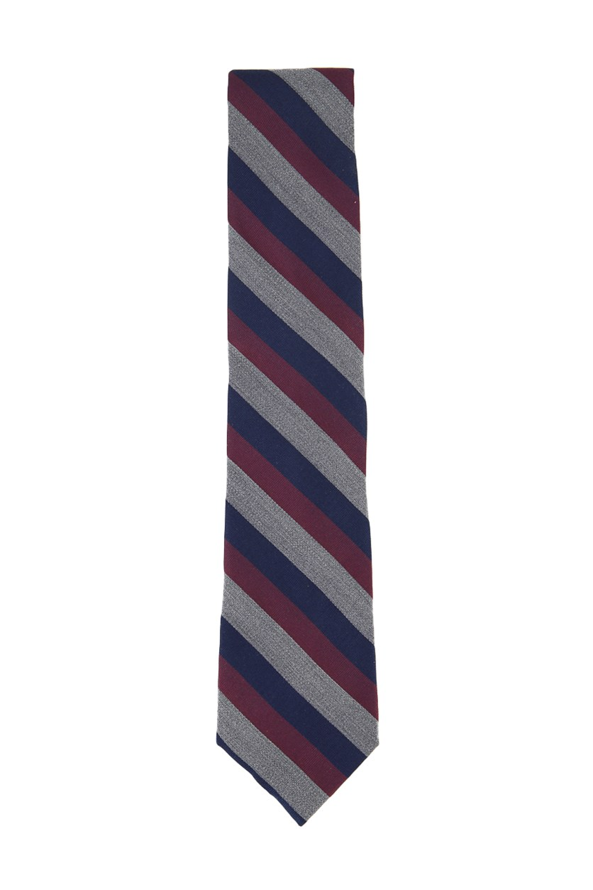 Men's Silk Stripes Regular Tie, Navy/Maroon/Grey