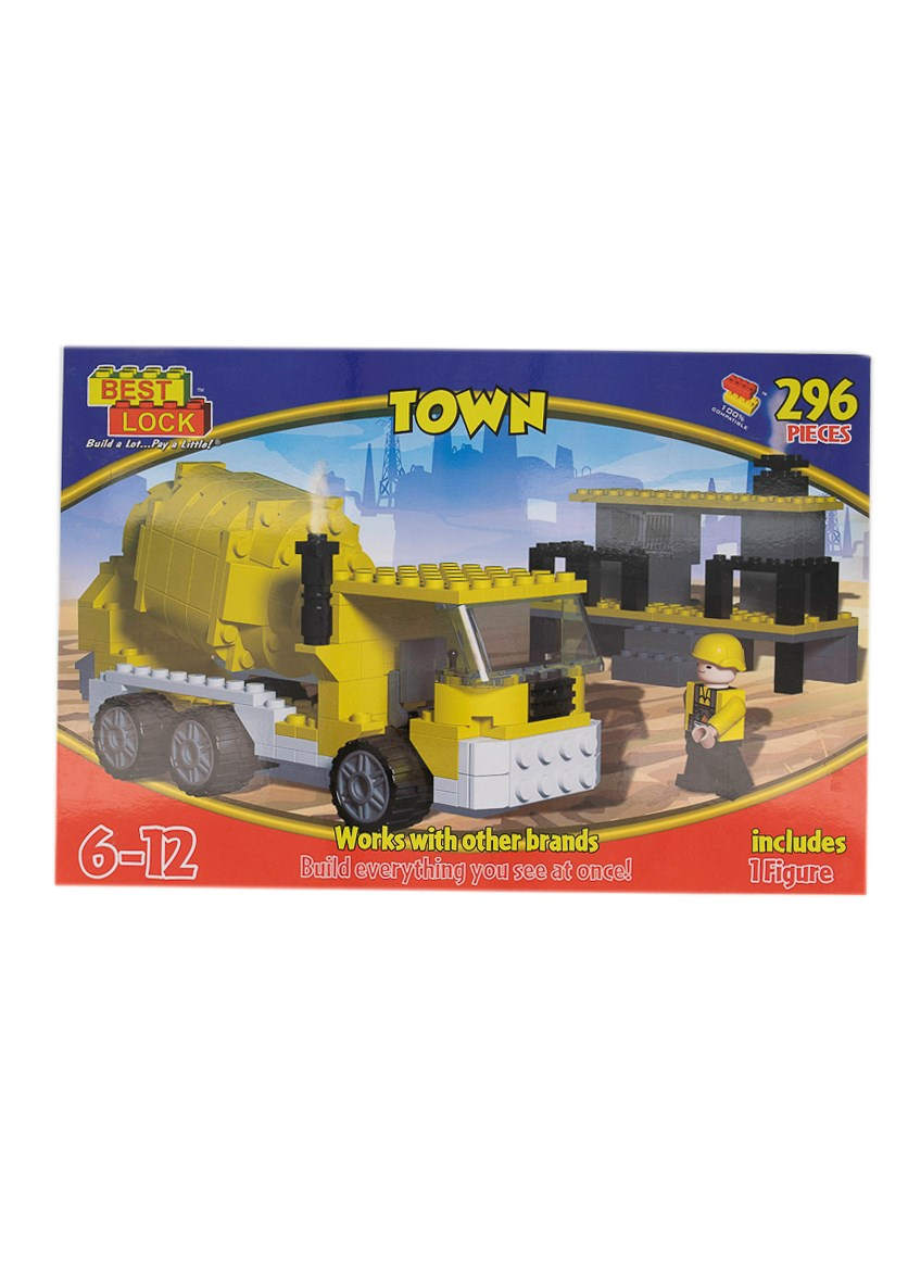 Best Lock Town Cement Mixer Block Play Set, 296-Piece