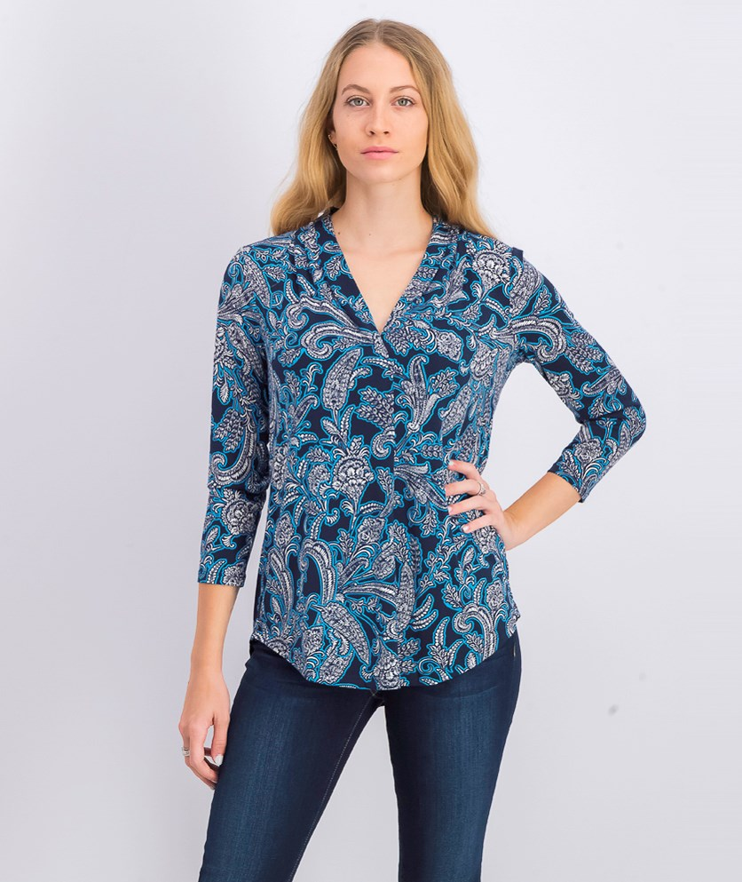 Women's Pleated V-Neck Paisley Knit Shirt,  Intrepid Blue