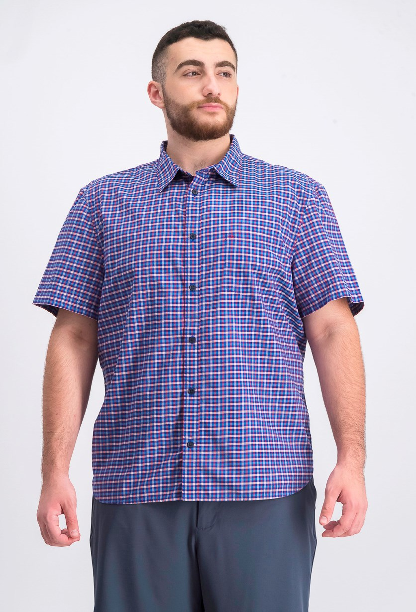 Men's Classic-Fit Yarn-Dyed Check Shirt, Purple