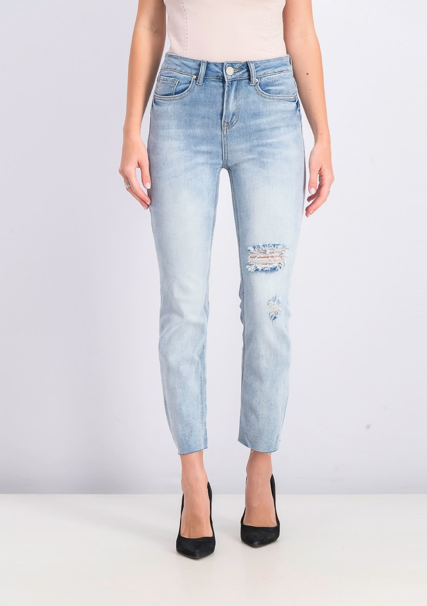 Women's High Rise Ankle Jeans, Light Blue