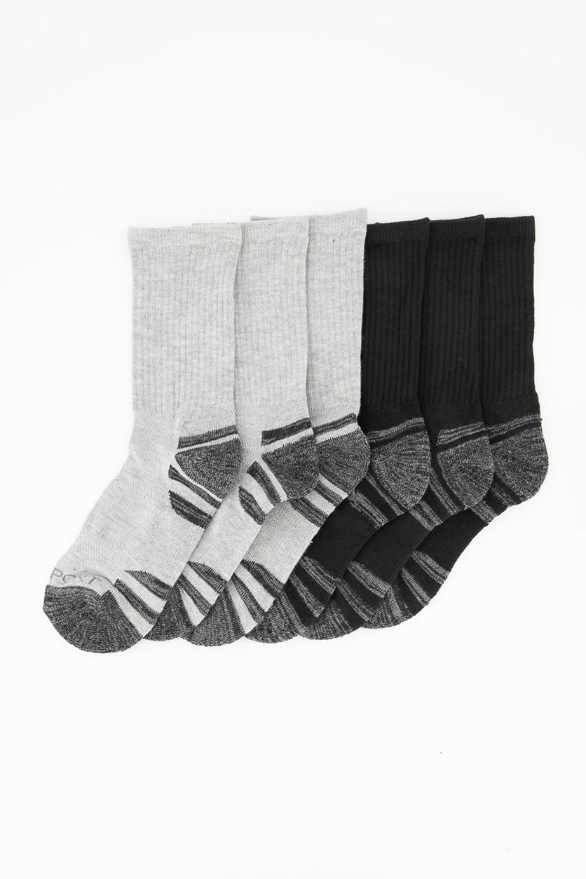 Boy's 6-Pack Sports Crew Socks, Black/Grey