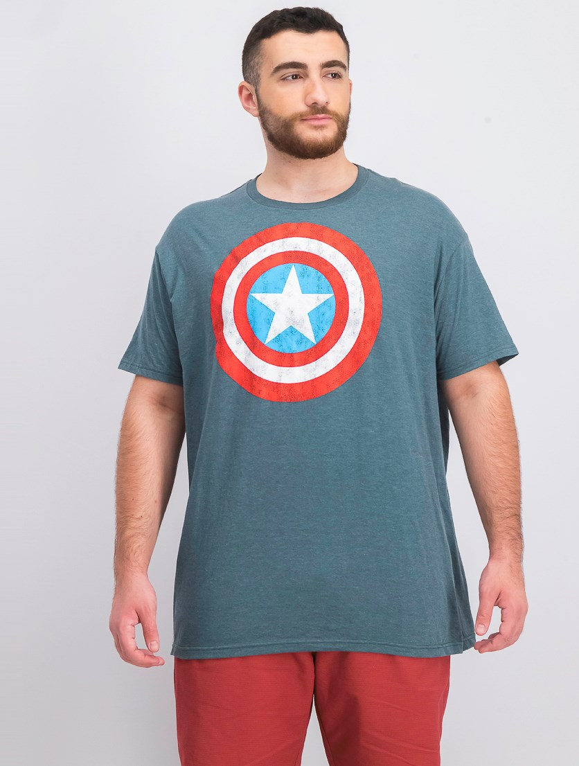 Mens Heathered Short Sleeves Graphic T-Shirt, Green Heather