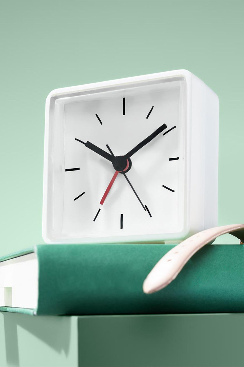 Analog Alarm Clock With Backlight, White
