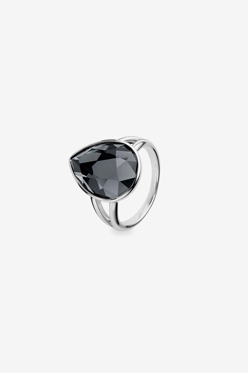 Ring With Shiny Glass Stone, Silver/Black
