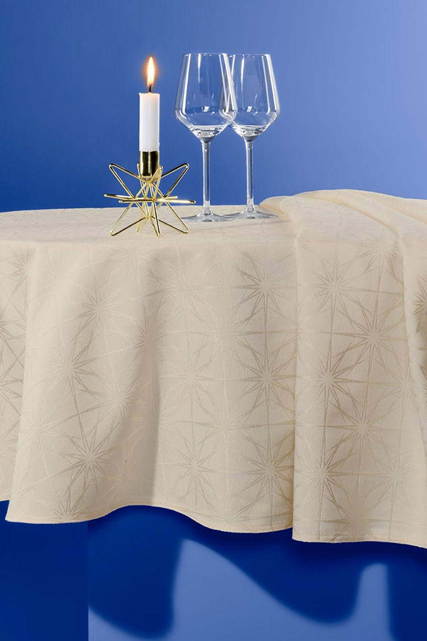 Large Jacquard Tablecloth, Creamy