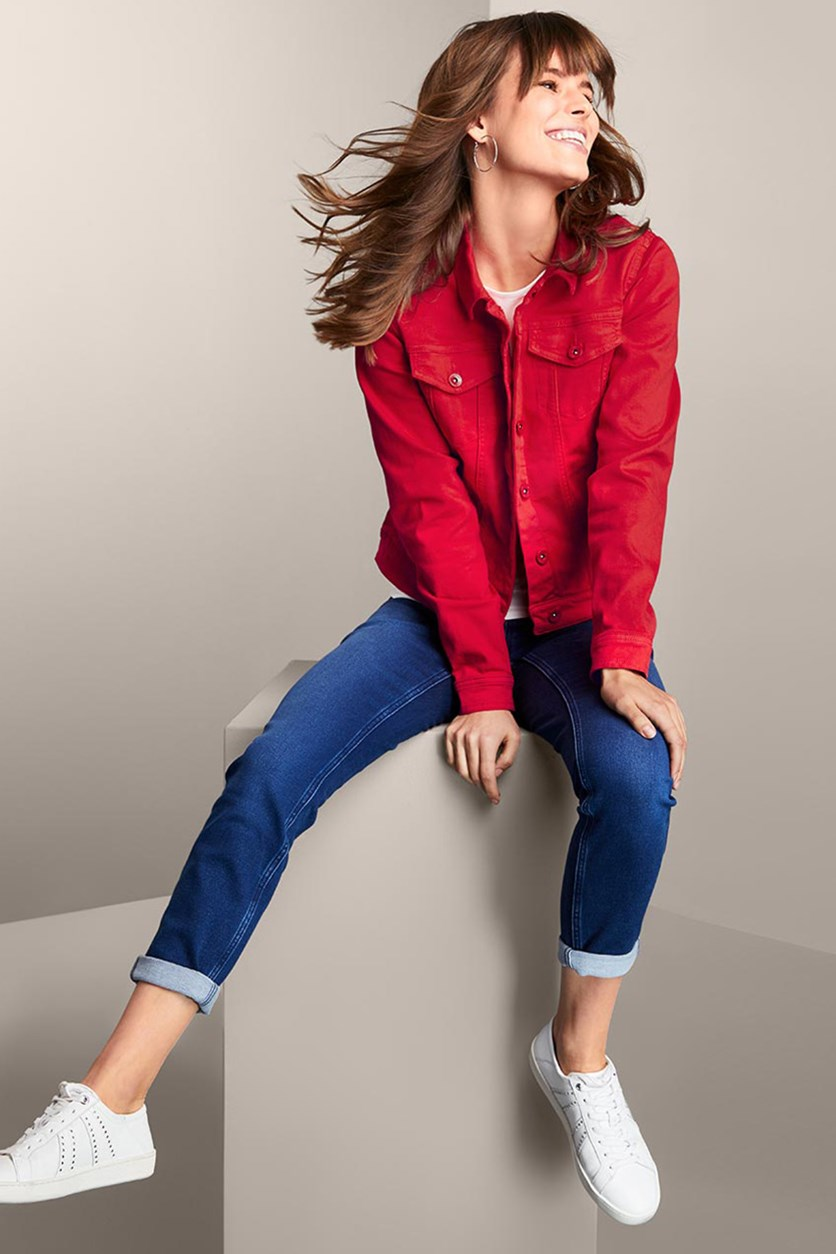 Women's Colored Denim Jacket, Red