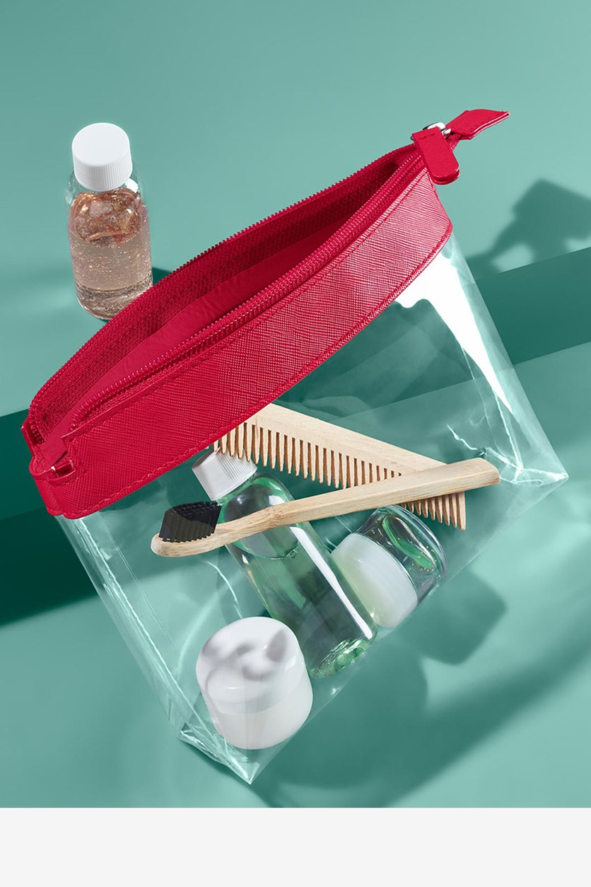 Hand Luggage Cosmetic Bag, Transparent/Red