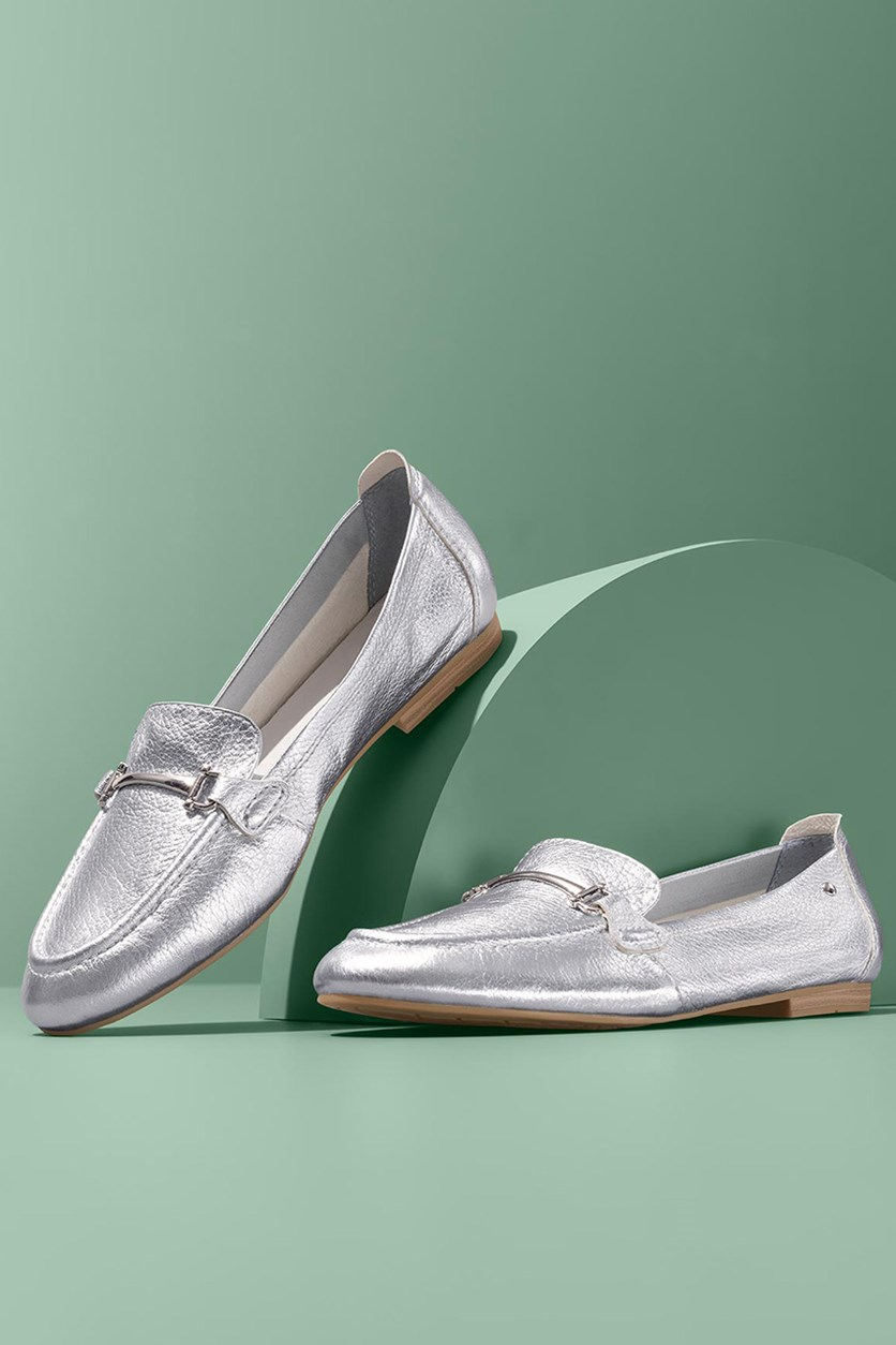 Women's Leather Moccasins Flats, Silver