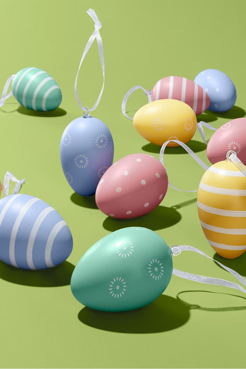 12 Easter Eggs, Pink/Purple/Green/Yellow