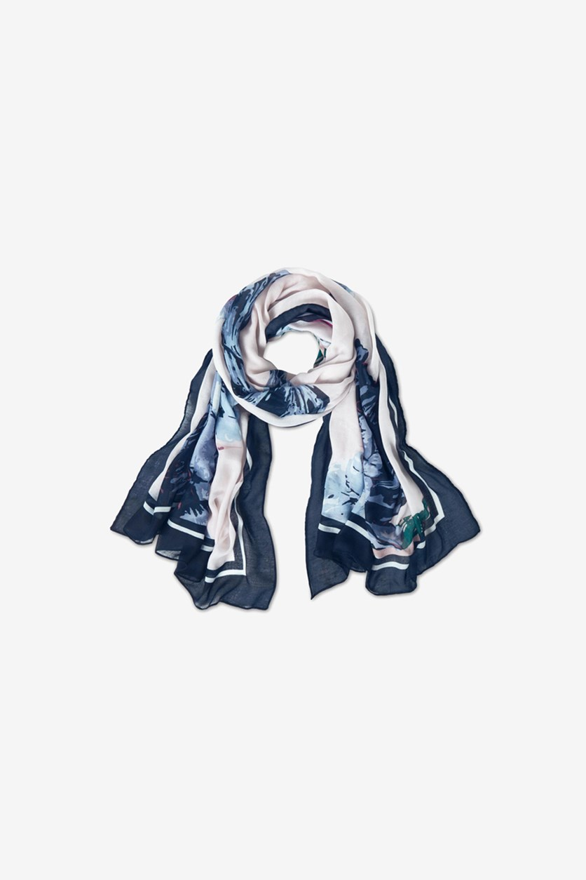 Women's Floral Print Scarf, Navy Blue/White
