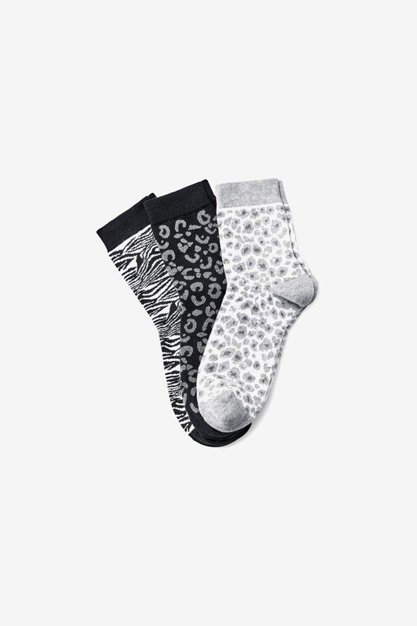 Womens 3 Pair Printed Socks, Gray/Black/White