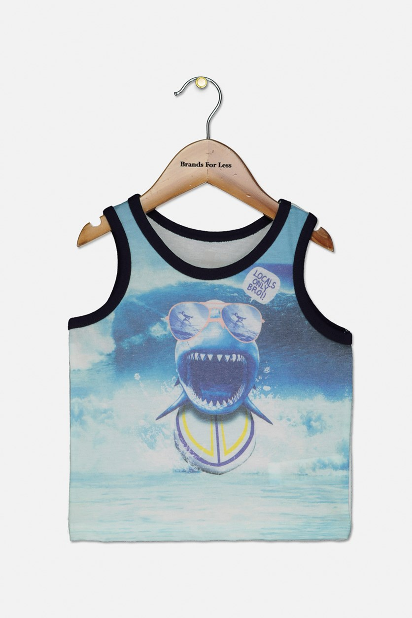 Baby Toddlers Pullover Tank Tops, White/Blue