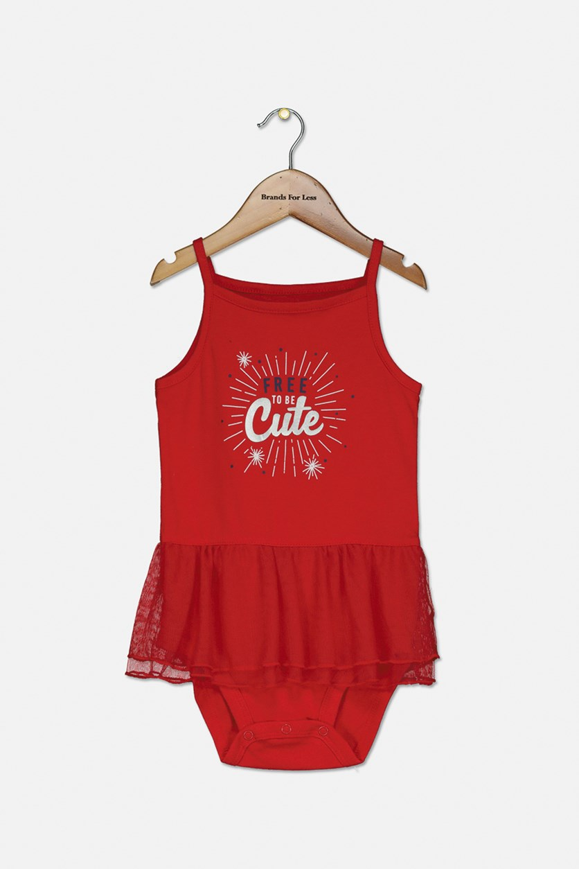 Baby Girl's Graphic Printed Bodysuit, Red