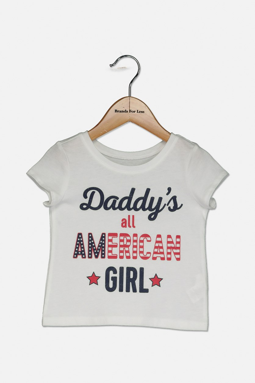 Toddler Girl's American Graphic Tee, White