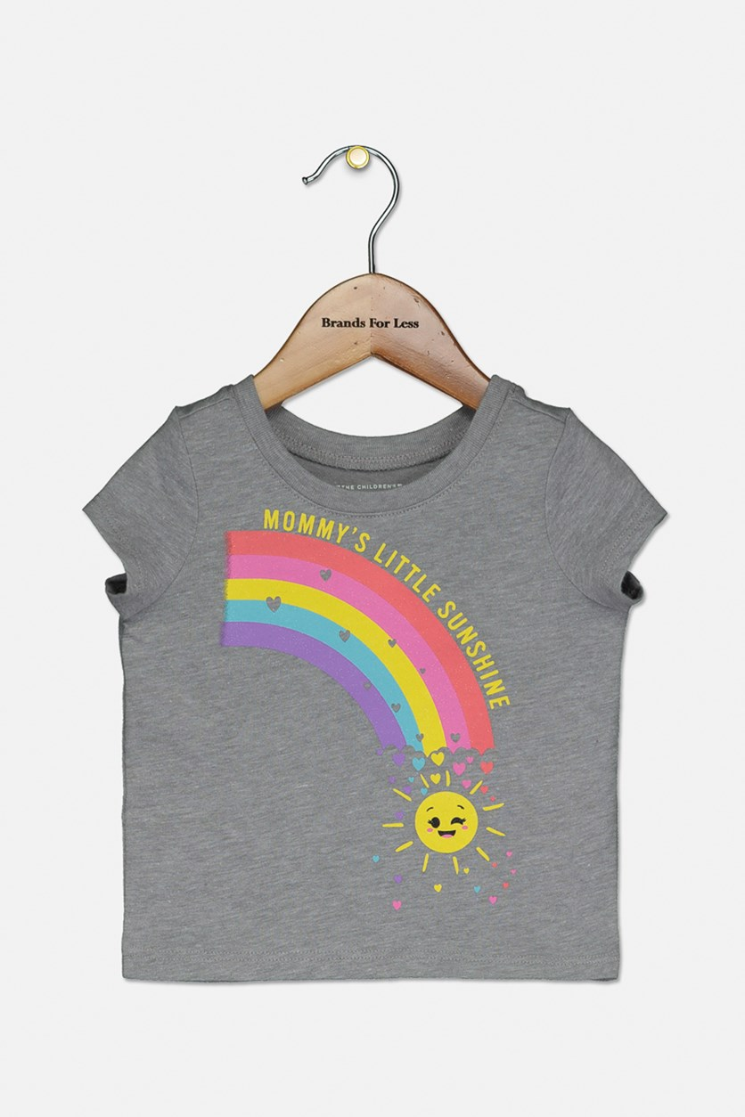 Toddler Girl's Graphic Printed Top, Gray Owl