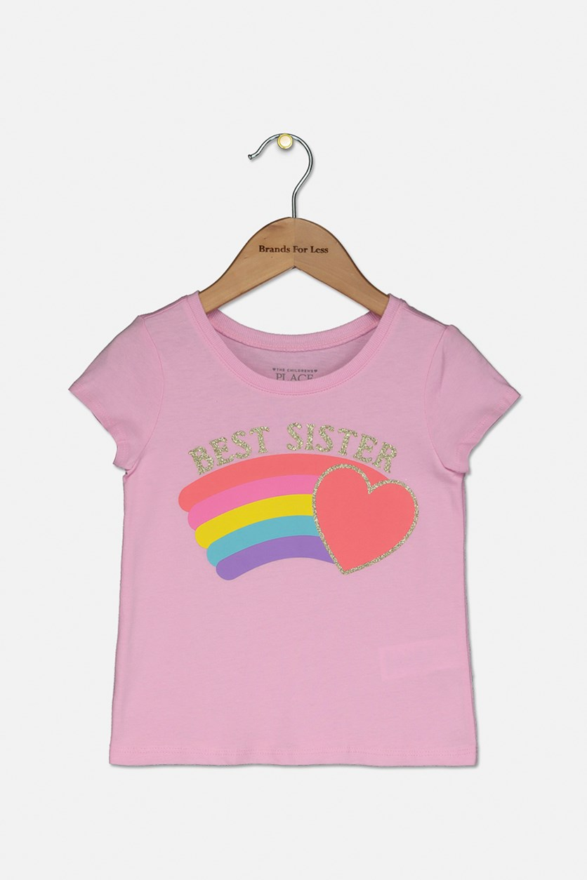 Toddlers Graphic Print Tee, Sparkle Pink