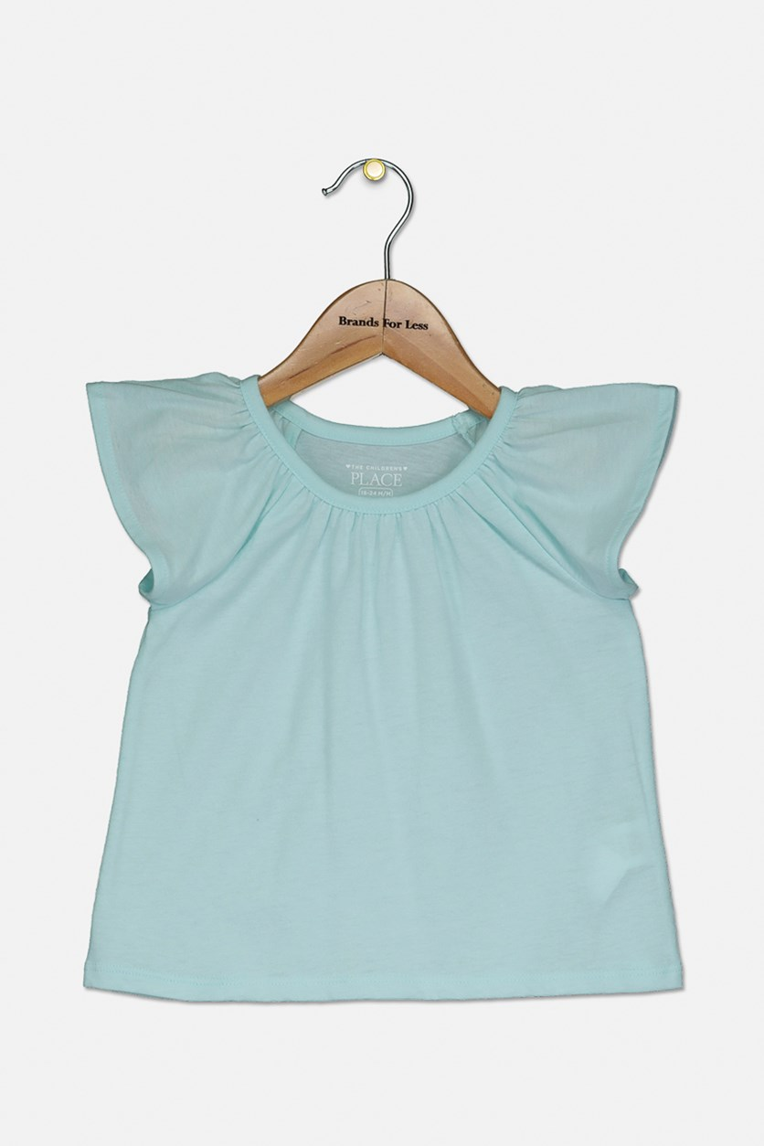 Little Girl's Pullover Top, Blue Coral