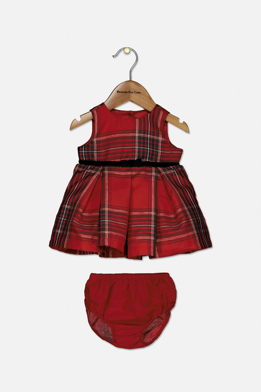 Toddler Girls Pullover Checkered Dress, Red