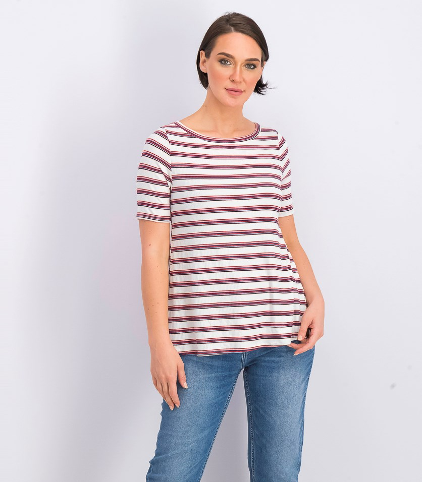 Women's Petite Stripes Short Sleeve Top, White/Red