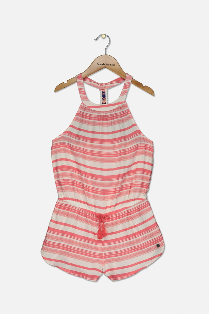 Kids Girls Striped Rompers, Pink/White