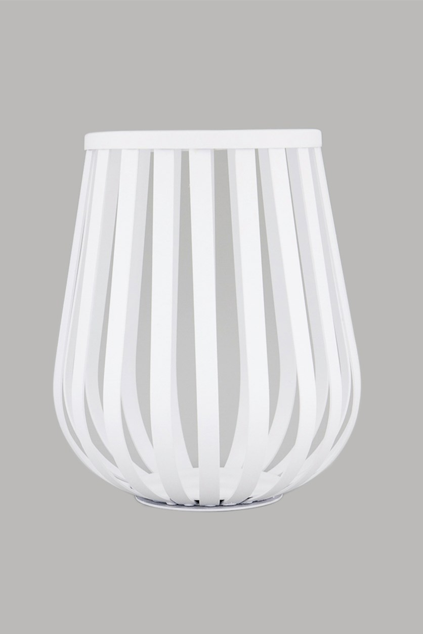 Windlight Artax Basket Candle Holder, White