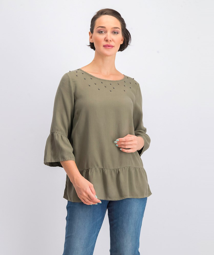 Women's Bell Sleeve Blouse, Olive