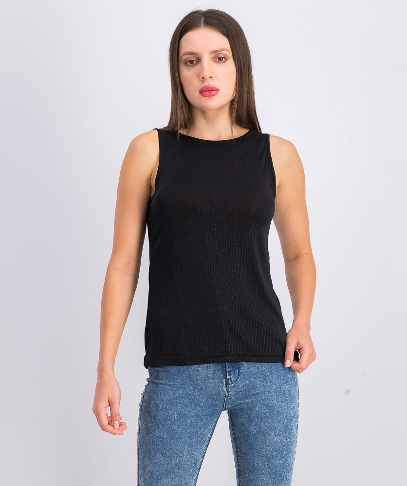 Women's Sleeveless Textured Top, Black