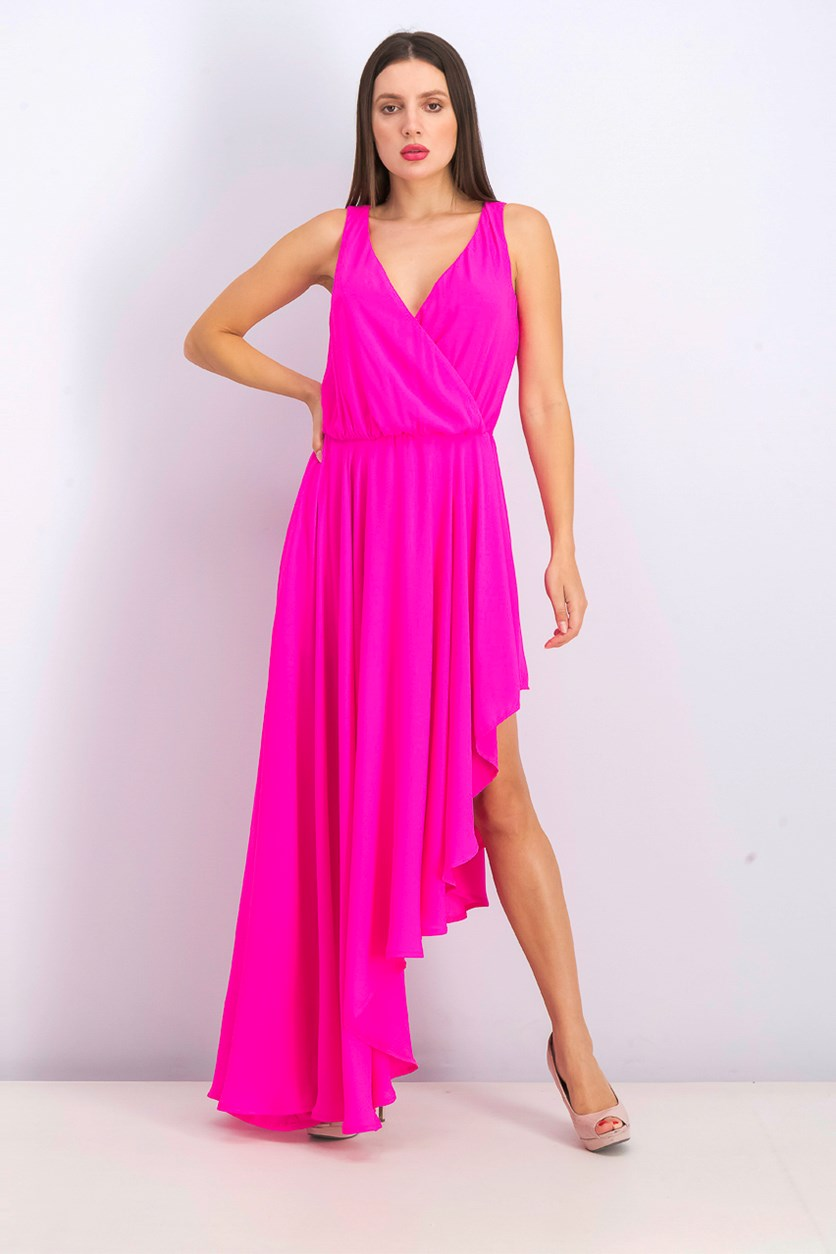 Women's Surplice Neckline Dress, Pink