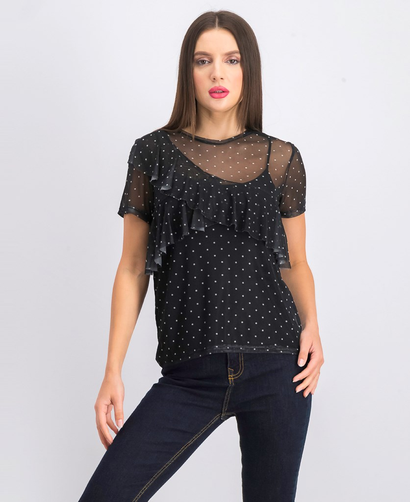 Women's Polka Dot Short Sleeve Top, Black