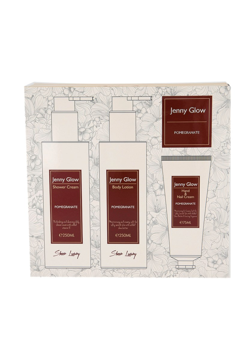 Shower Cream, Body Lotion And Hand & Nail Cream Pomegrante Set, White/Maroon