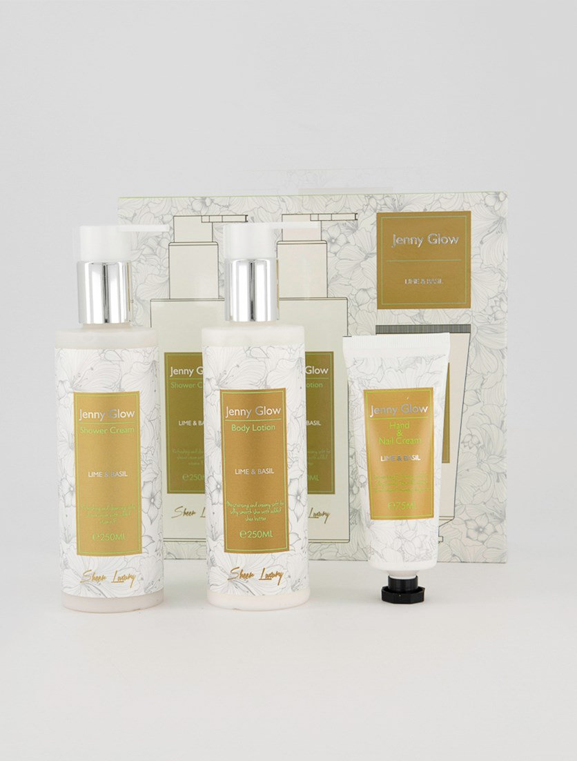 Shower Cream, Body Lotion And Hand & Nail Cream Lime & Basil Set, White/Olive