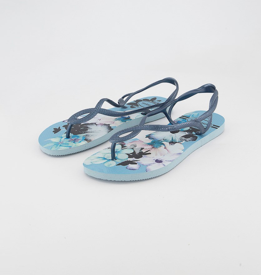 Women's Slim Luna Print Slipper Sandals, Blue