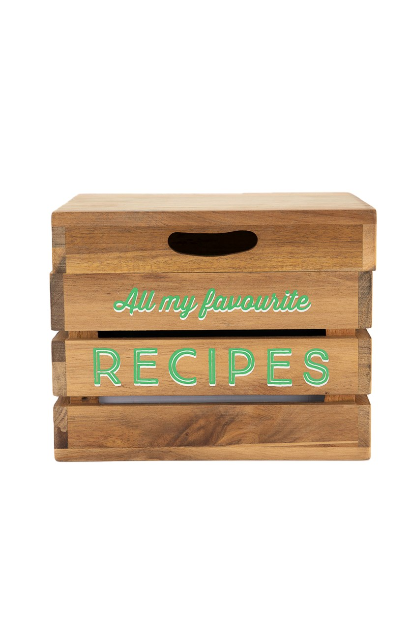 Wooden Scribble And Store Recipe Box With Lid, Brown