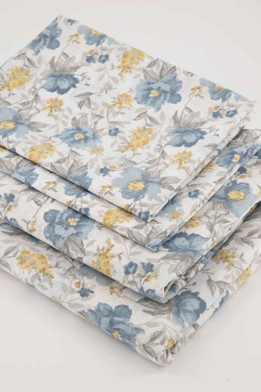 Full Size Roland Printed Cotton Bed Sheets Set, Blue/Yellow