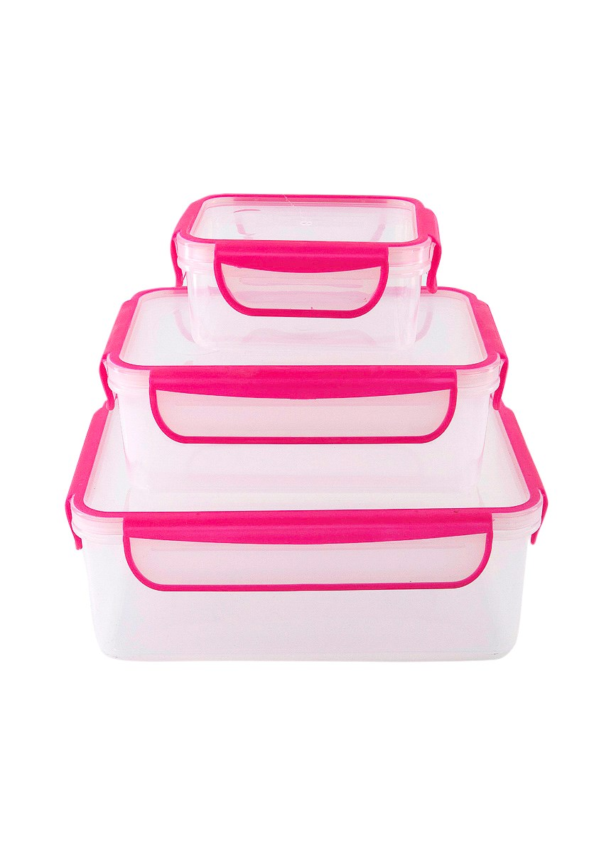 6-Pcs Nested Rectangular Containers, Pink