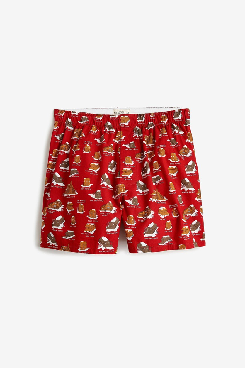 Mens One Woven Boxer, Red Combo
