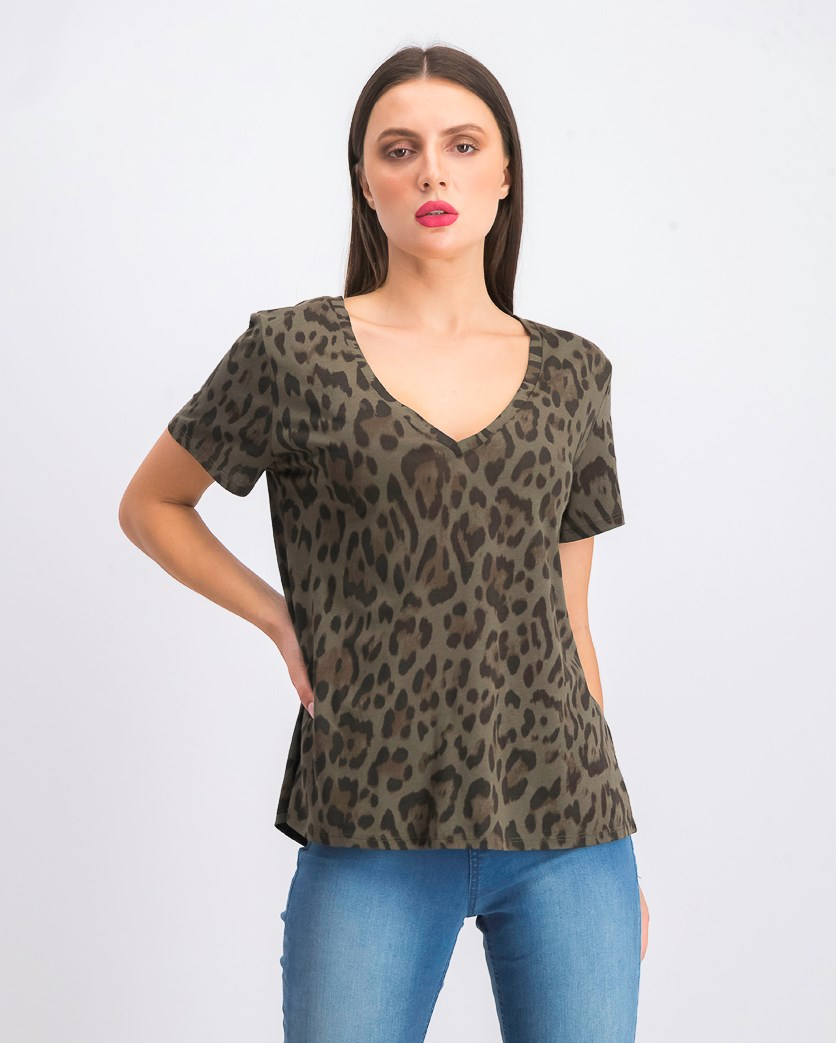 Women's Dyed V-neck T-Shirt, Olive/Black/Brown