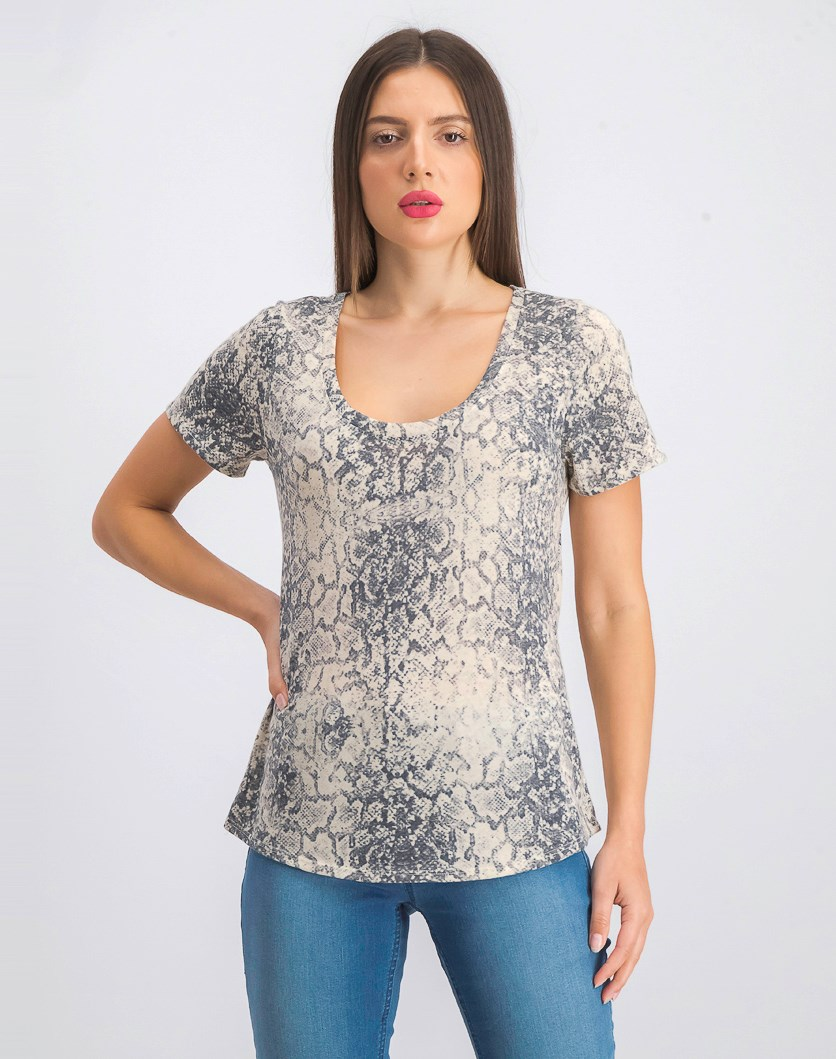 Women's Short Sleeve Allover Print T-Shirt, Beige/Grey