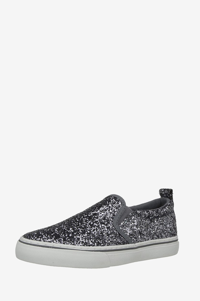 Girl's Carlee Twin Gore Slip-On Shoes, Pewter