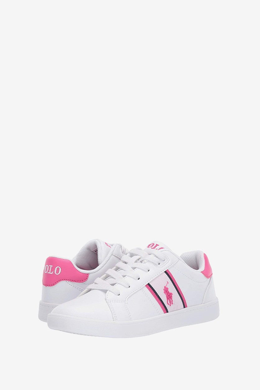 Kid's Girl Quigley Shoes, White/Pink