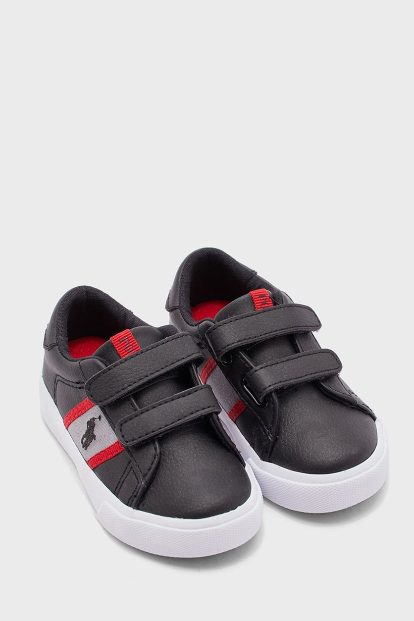 Toddler Double Strap Sneaker, Black/Grey/Red