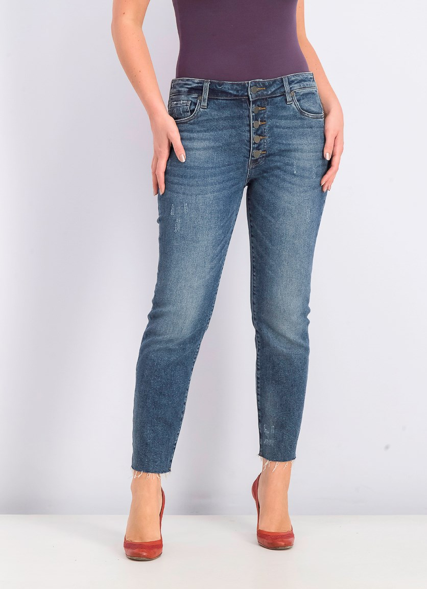 Womens High Rise Ankle Straight Leg Jeans, Navy Wash