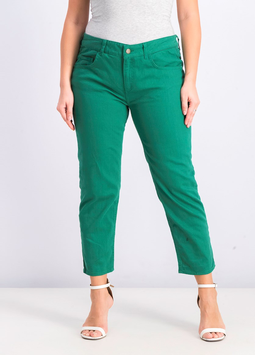 Women's Textured Jeans, Green
